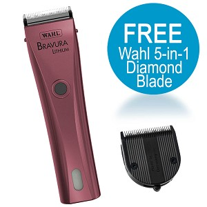 Bravura Lithium Clipper Kit, Pink w/ FREE Wahl 5-in-1 Diamond Blade