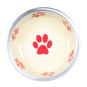 Super Max Bowl, X-Small, Paws, Ivory