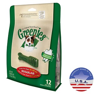 Greenies Canine Dental Chews, Treat-Pak, Regular, 12 Bones