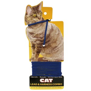 Adjustable Cat Lead & Harness Combo, Blue, 4'