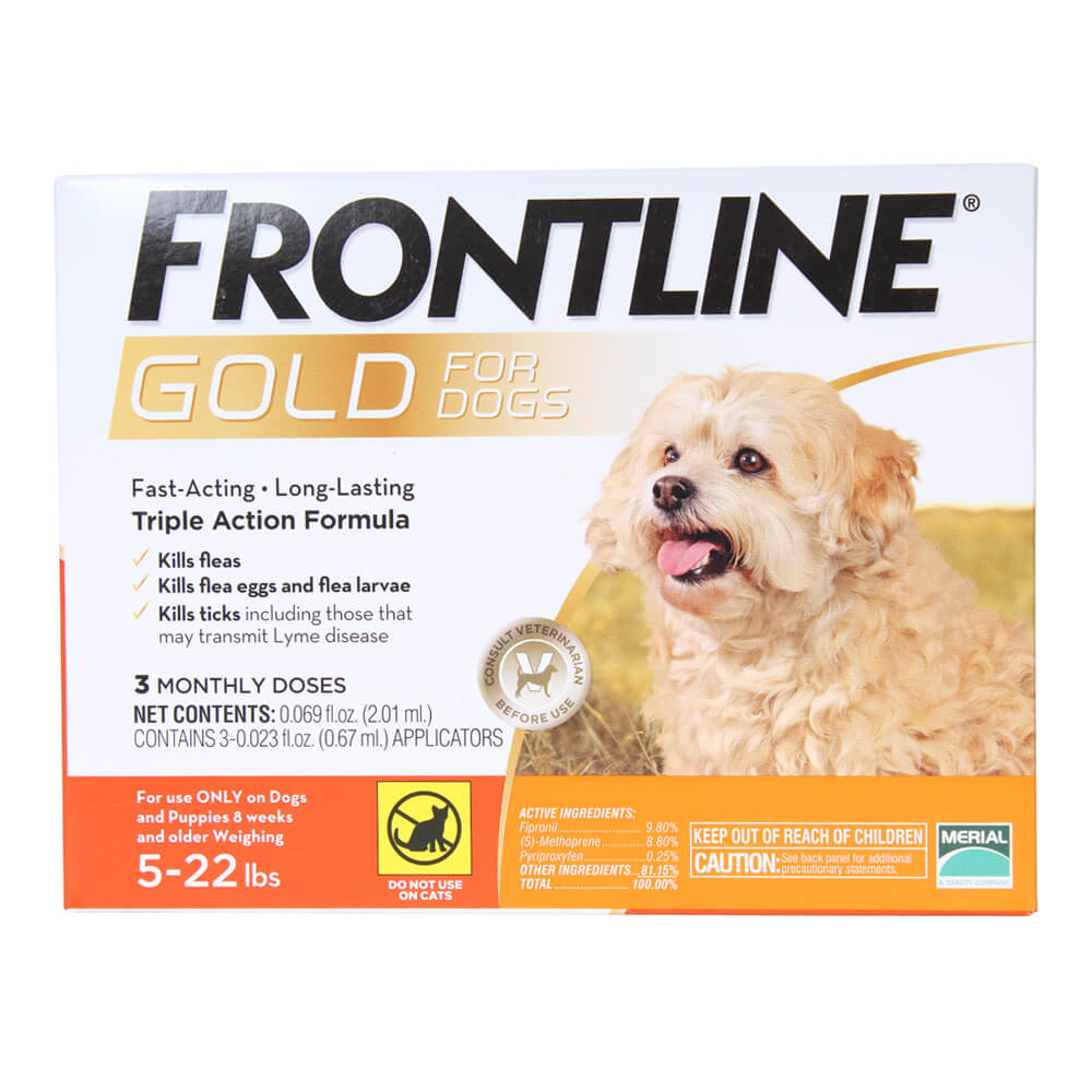 Frontline Gold for Dogs 5-22 lbs, Orange, 3 Month