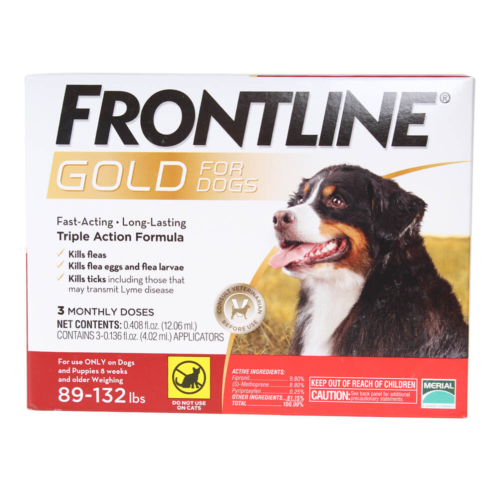 Frontline Gold for Dogs 89-132 lbs, Red, 3 Month