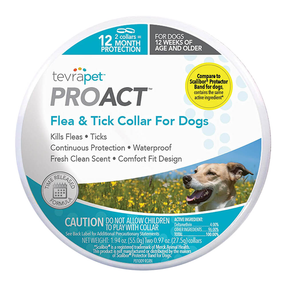 TevraPet ProAct Flea & Tick Collar Dogs, 12 Month Protection, 2 Collars