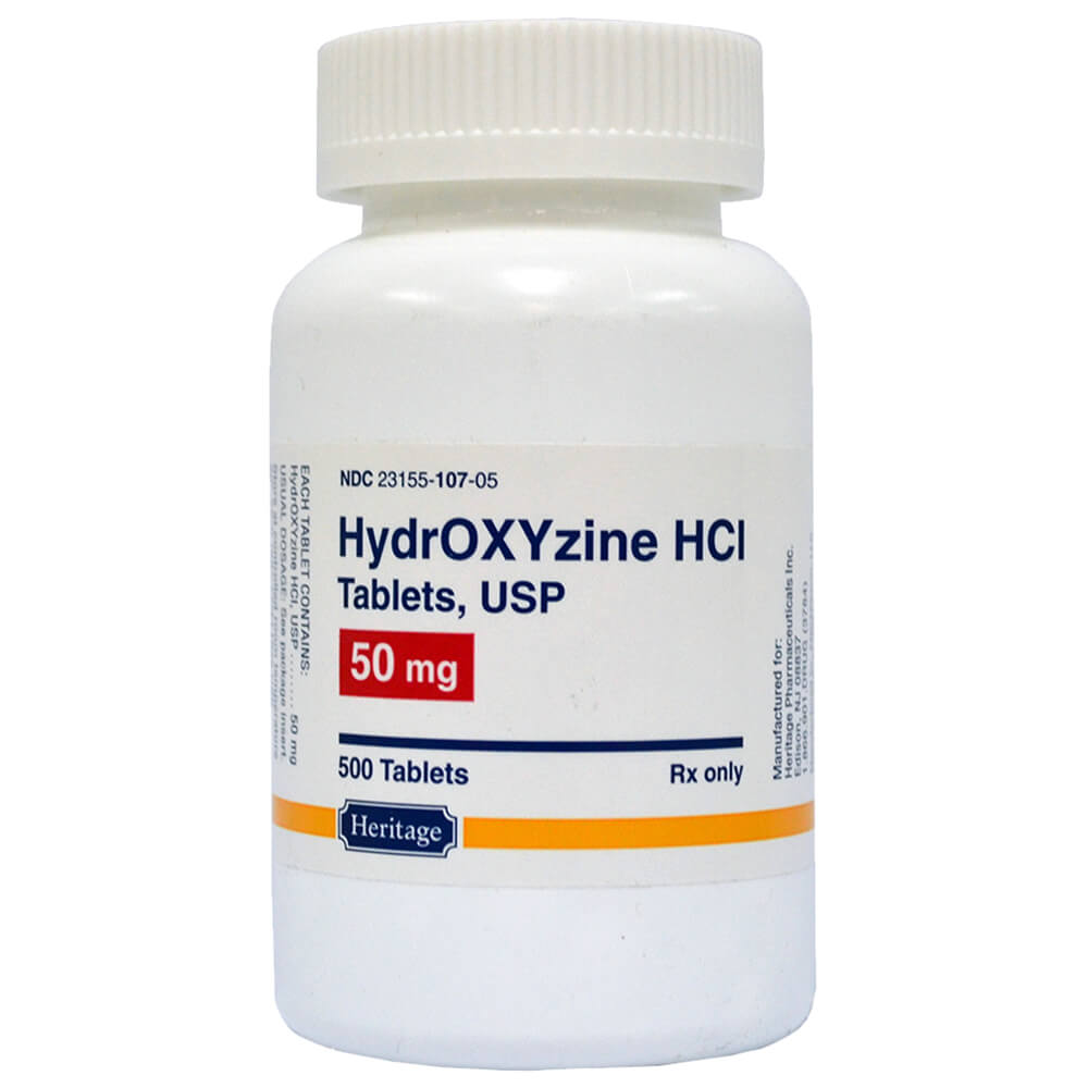 Hydroxyzine HCL Rx, 50 mg X 500 Tablets