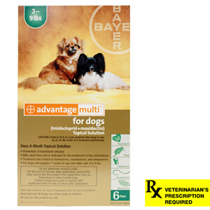 Advantage Multi Rx for Dogs, 3-9 lbs, 6 Month (Green)
