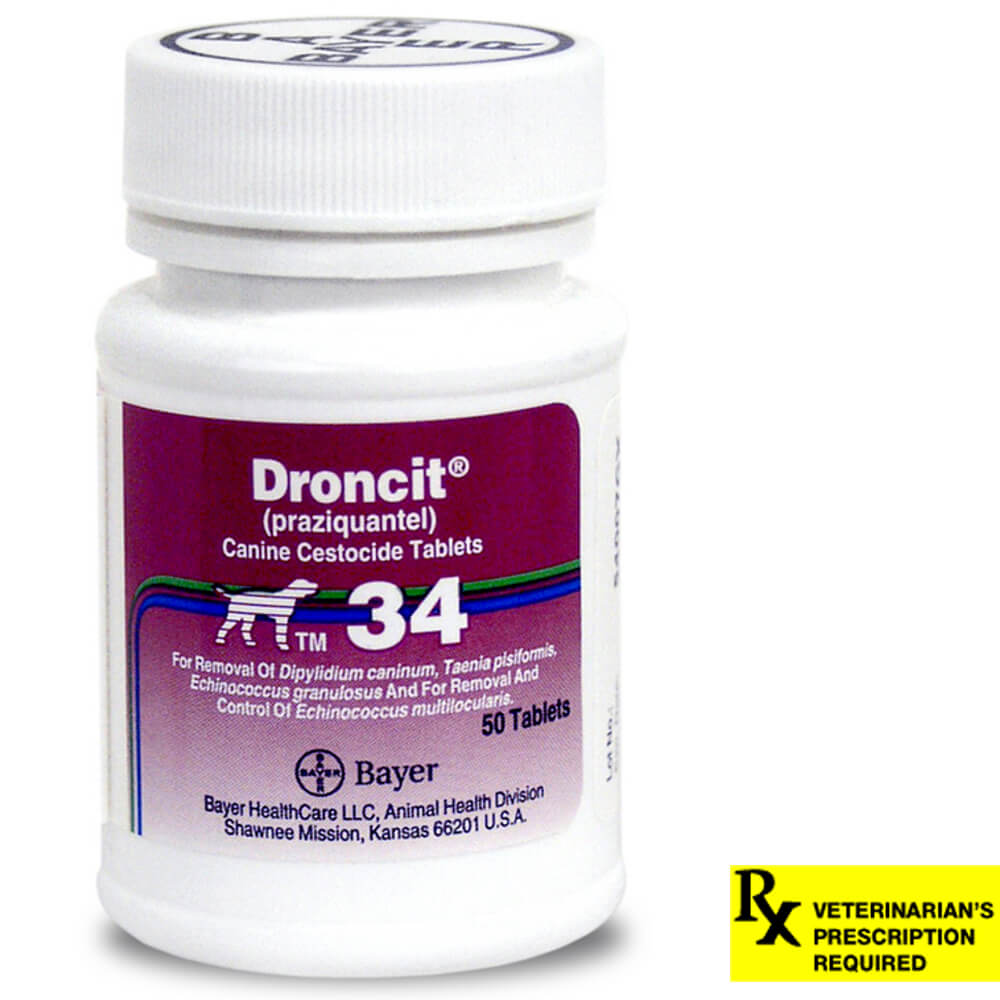 Droncit Rx for Dogs, 34 mg x 50 ct