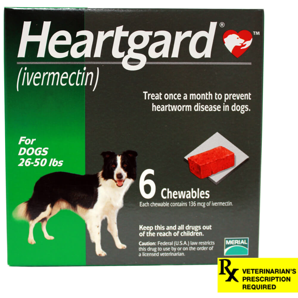 Heartgard Rx for Dogs, Chewables, 26-50 lbs, 6 Month (Green)