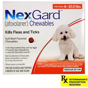 NexGard Rx for Dogs, 4-10 lbs, 6 month