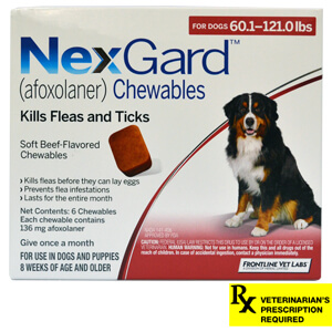 NexGard Rx for Dogs, 60.1-121 lbs, 6 month