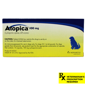 Atopica Rx, Dogs 33.1-64 lbs, 100 mg x 15 ct (Blue)