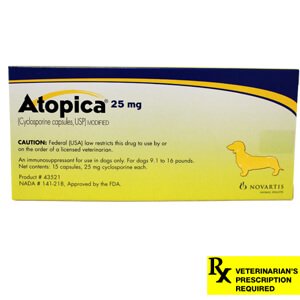 Atopica Rx, Dogs 9.1-16 lbs, 25 mg x 15 ct (Yellow)