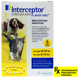 Interceptor Rx, 26-50 lbs Dog/6.1-12 lbs Cat, Yellow, 6 count