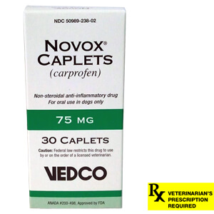 Rx Novox (Carprofen) Caplets, 75 mg x 30 ct - Compares to Rimadyl