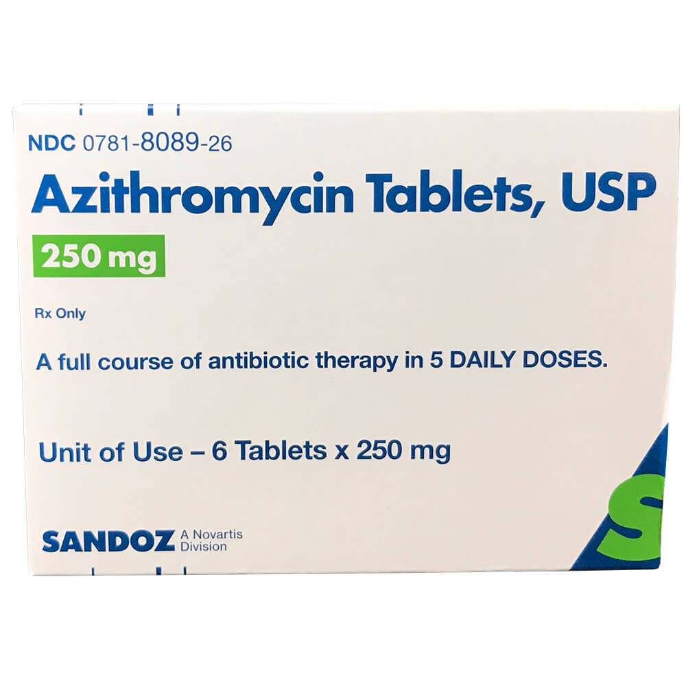 Rx Azithromycin Tablets, USP, 250mg, 6 Tablets