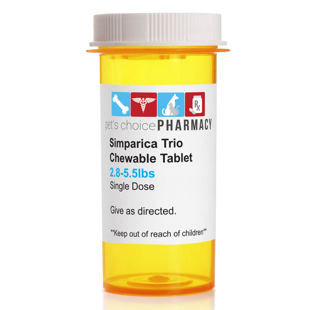 Rx Simparica Trio, Gold, 2.8-5.5lbs, 3Mg, Single Tab