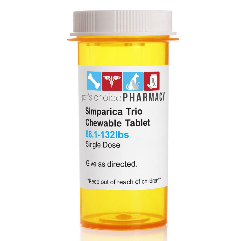 Rx Simparica Trio, Brown, 88.1-132lbs, 72Mg, Single Tab