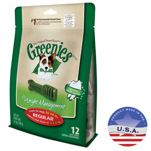 Greenies Weight Management Formula Treat Pak, Regular, for overweight dogs 25-50 lbs, 12 ct