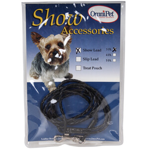 Braided Leatherette Dog Show Lead, Black, 3'