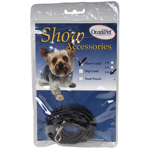 Braided Leatherette Dog Show Lead, Black, 5'