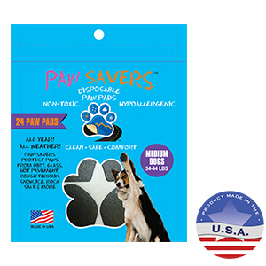 Paw Savers Disposable Paw Pads, for Medium Dogs 34-44 lbs, 24 Pads