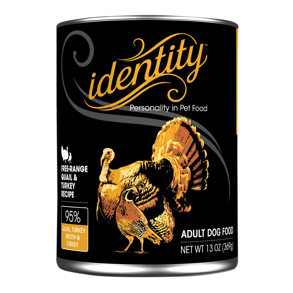 Identity, 95% Free-Range Quail & Turkey for Dogs, 13 oz, (12 cans  per case)