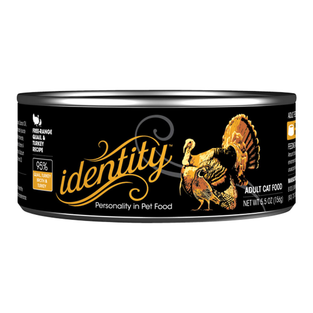 Identity, 95%  Free-Range Quail & Turkey for Cats, 5. 5 oz, ( 24 cans per case)