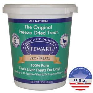 Stewart Pro-Treat Freeze Dried Duck Liver Treats for Dogs, 3 oz