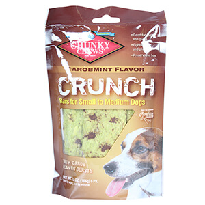 Crunch Bars for Small to Medium Dogs, Carob Mint Flavor, 6 PK