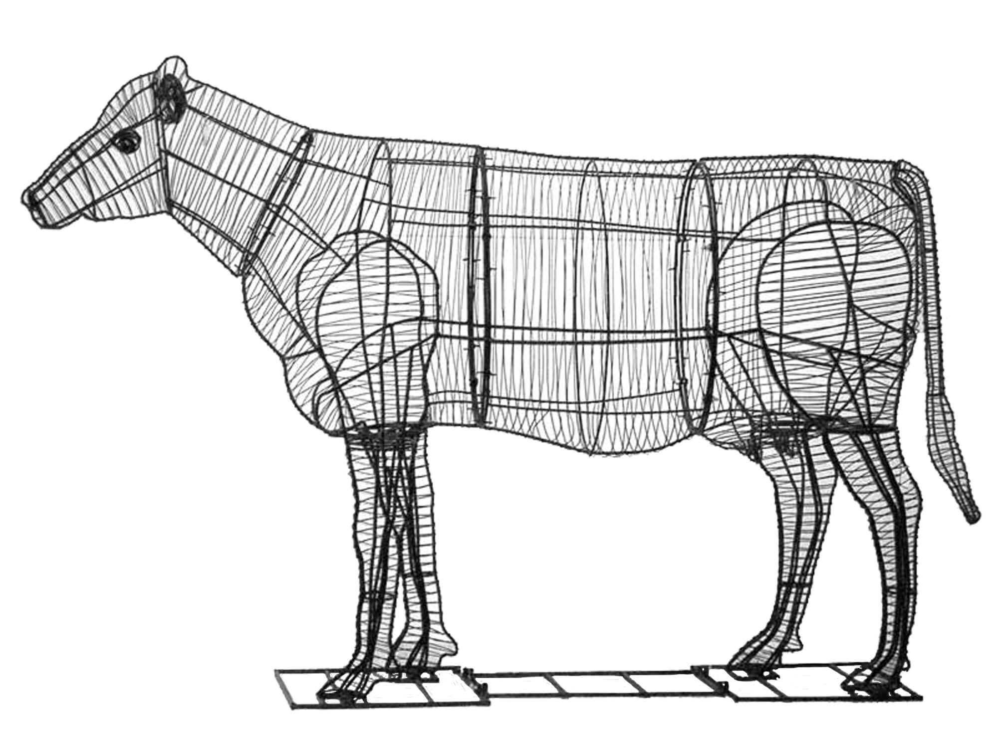 Green Piece Wire Art, Cow