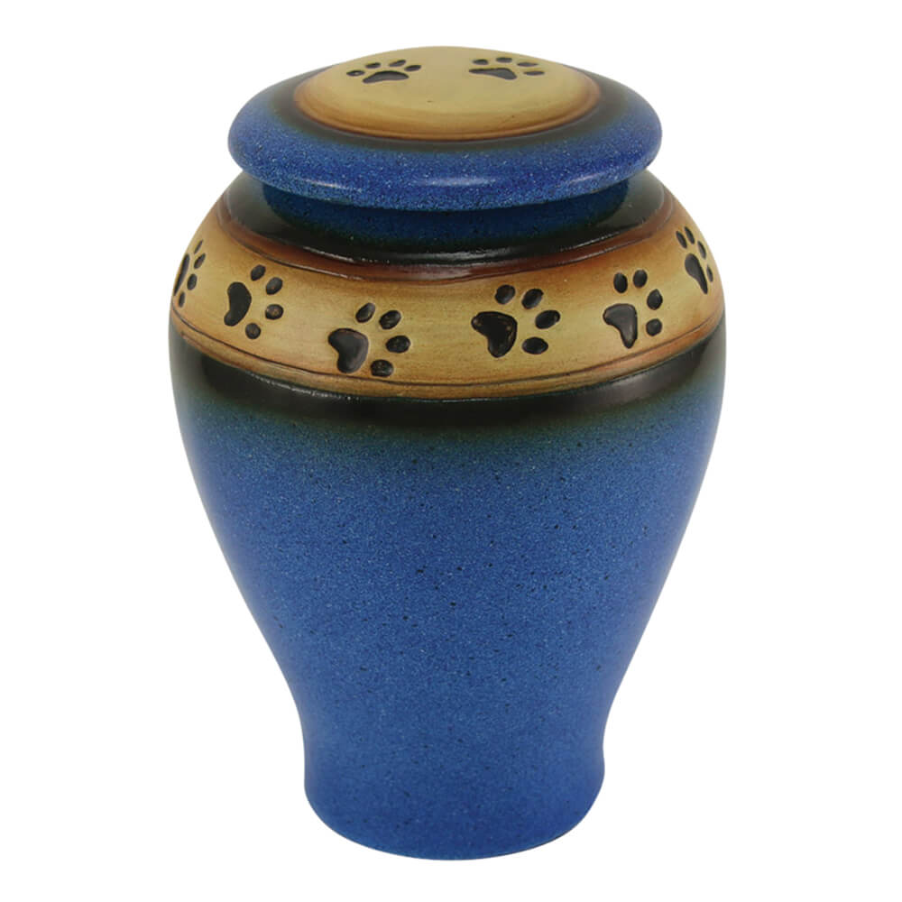 Ceramic Paw Print Pet Urn, Blue, Large