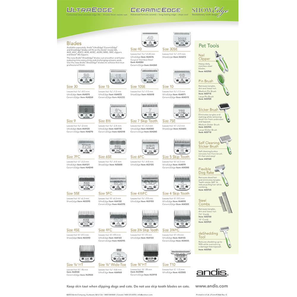 8 1//2 UltraEdge Detachable Clipper Blade 64170 Andis #8.5